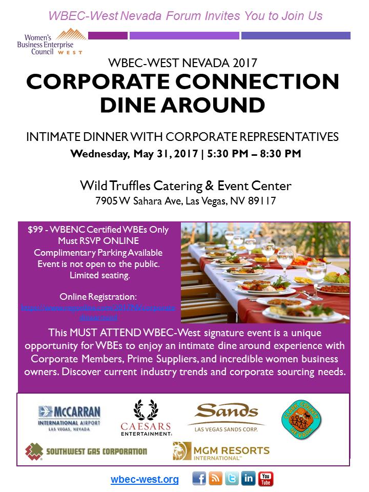 WBEC-West Nevada 2017 Corporate Connection Dine Around