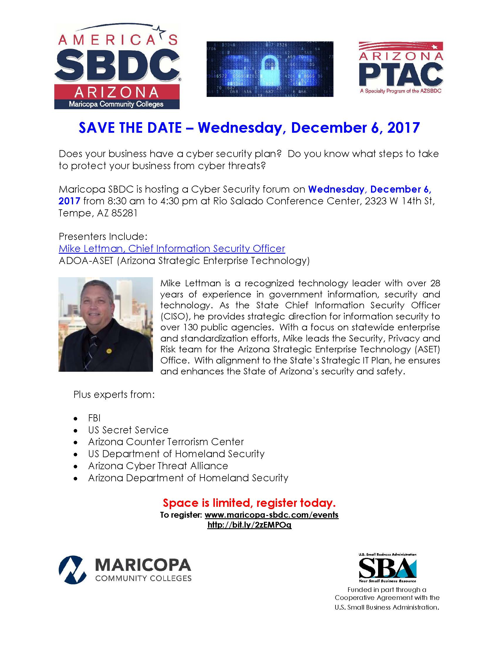 Cyber Security Forum hosted by Maricopa SBDC