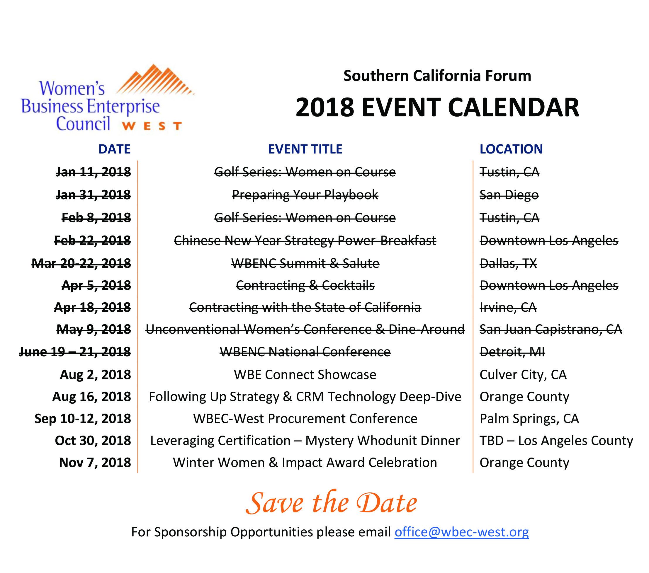 CA 2018 Event Schedule