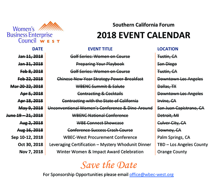 CA 2018 Event Schedule