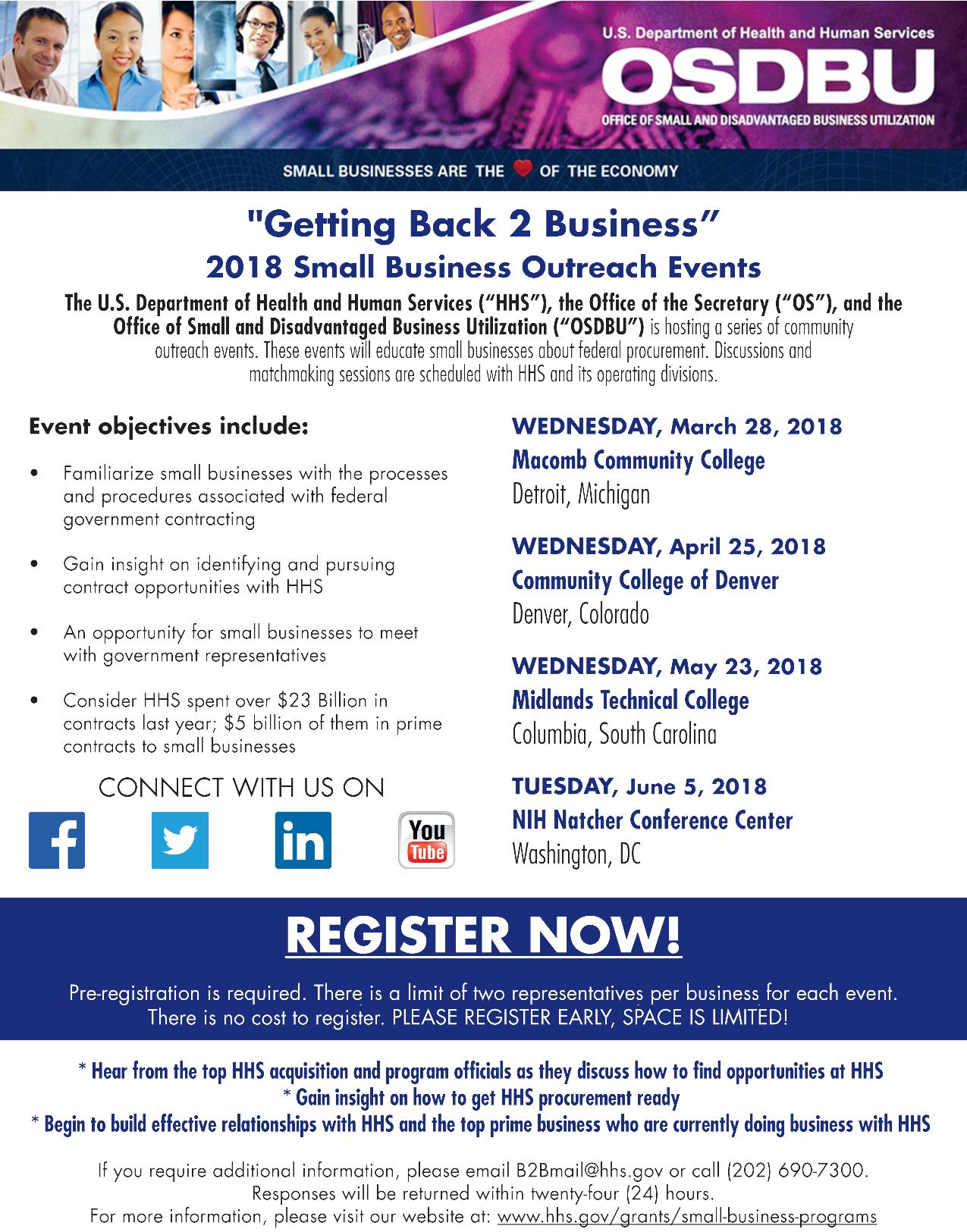 "The Department of Health and Human Services (HHS) ""Getting Back 2 Business"" (B2B) Small Business Outreach Event"