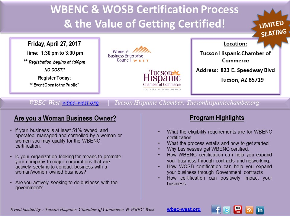 How to Certify Your BusinessThrough WBENC and WOSB - April 27. 2018 - Tucson