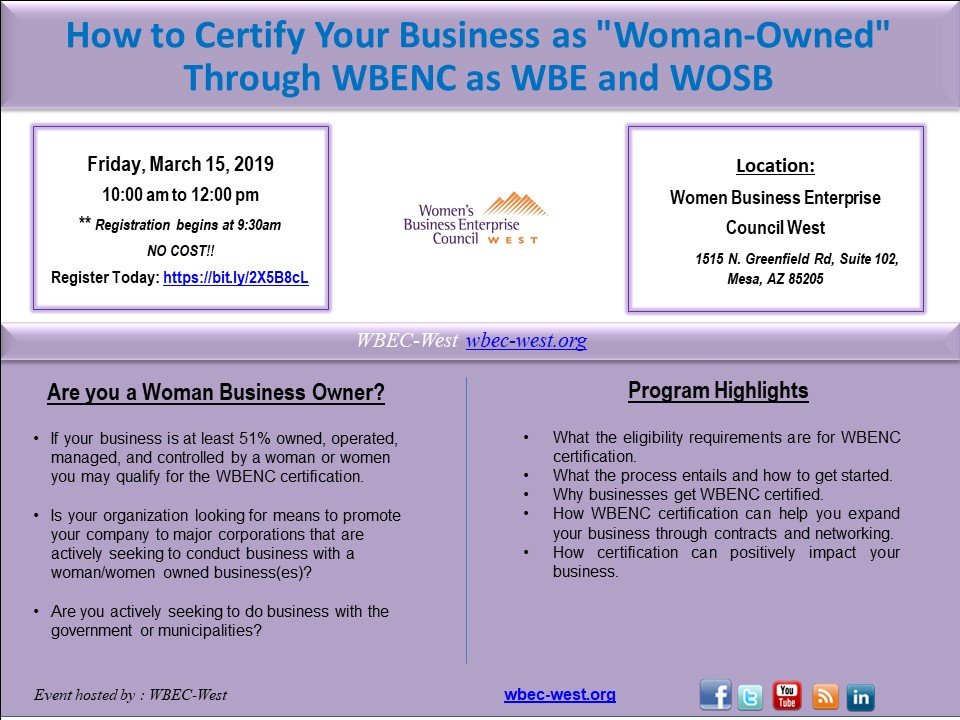 How to Certify Your BusinessThrough WBENC and WOSB - March 15 2019 -1