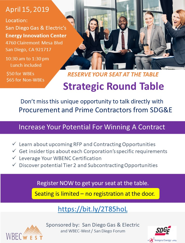 CA Strategic Round Table sponsored by: SDG&E