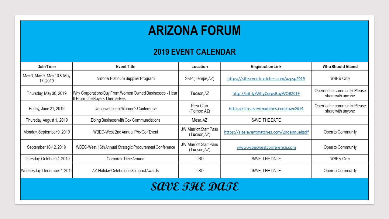 AZ 2019 FORUM EVENTS