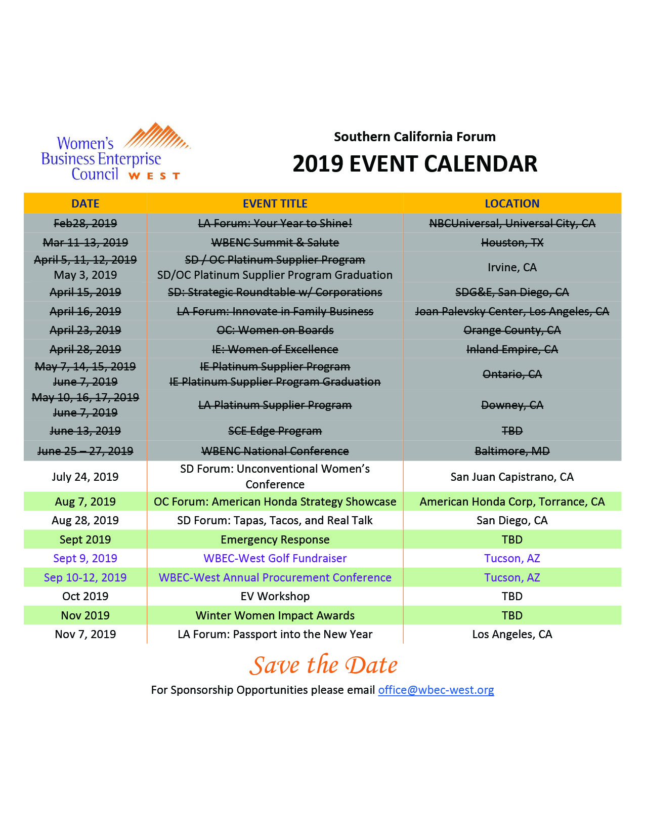 Southern California Forum Events