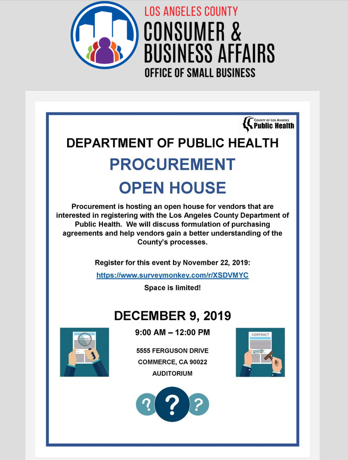 COUNTY OF LOS ANGELES DEPARTMENT OF PUBLIC HEALTH PROCUREMENT OPEN HOUSE